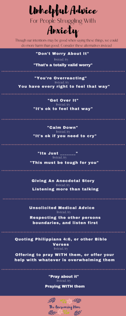 Unhelpful advice for people struggling with anxiety infographic